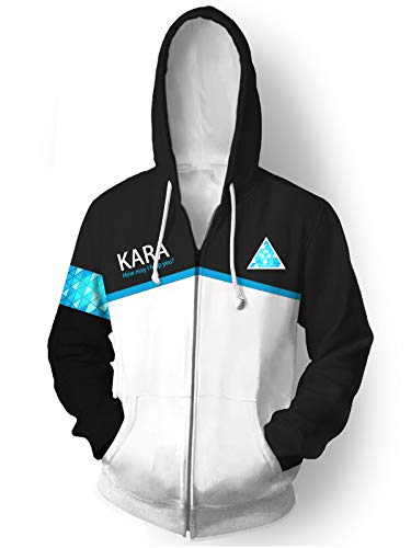 GOTEDDY Kara Cosplay Hoodie Halloween Zipper Coat Sweatshirt Jacket Costume S -