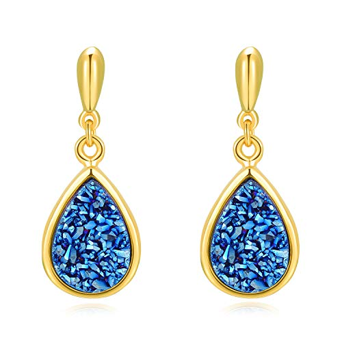 Natural Earrings Stone 14k (Ellena Rose Sterling Silver Natural Druzy Earrings – 925 Sterling Silver with 14K Gold Plating and 100% Natural Druzy Earrings for Women, Teardrop Shaped Earrings (Blue Druzy and Gold Plated))