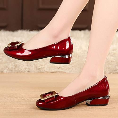 Boca Grueso Salvajes Vino Rojo Y Cuero Mujer Pequeños Individual Zapatos De Profesional Primavera Con Real Calzado Medianos fHIUPq6x