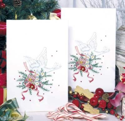Tobin Stamped Embroidery Kit - Holiday Doves Kitchen Towels