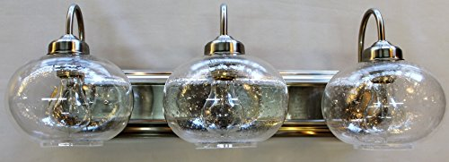 - 3 Light Brushed Nickel Vanity Bathroom Wall Light Clear Round seeded Glass