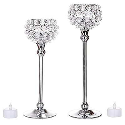 Feyarl Set of 2 pcs Sparkly Silver Crystal Ball Candleholders for Wedding Centerpieces, Exquisite Gift, Romantic Candlelit Banquet, Festival Decoration