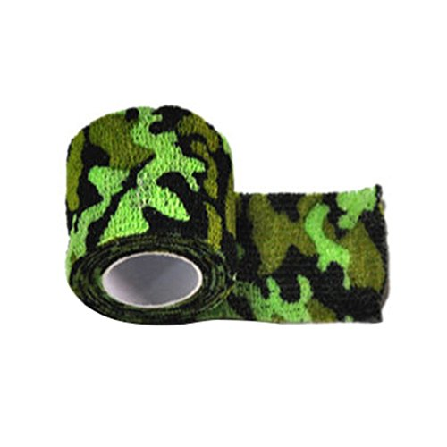 Gilroy 5CM X 4.5M Outdoor Camo Camouflage Wrap Tape for Hunting Rifle Gun Cycling Tool - Bright Green by Gilroy (Image #1)