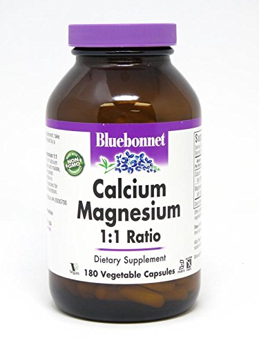 BlueBonnet Calcium Magnesium 1:1 Ratio Vegetarian Capsules, 180 Count
