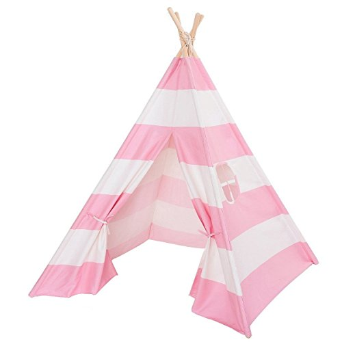 Kids Play Teepee Tent Pink and White Stripes Cotton Canvas Wooden Poles Play House Tent