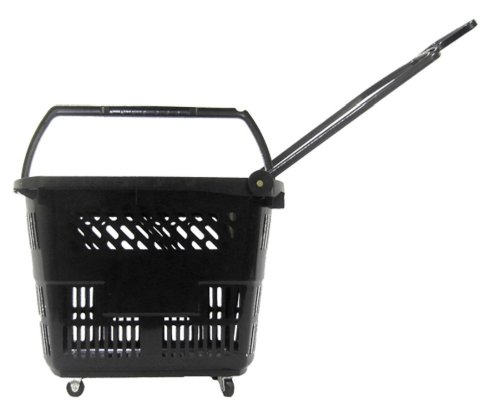 Glopack RB33BLACK 33 8.75-Gallon Roller Basket, 19.5'' Length X 14.25'' Width x 14.5'' Height, Black (Case of 10) by Glopack