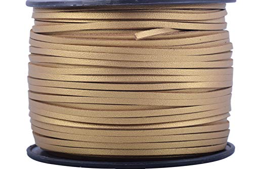 KONMAY 100 Yards 2.65mm Micro Fiber Lace Faux Suede Leather Cord on Rolls for Jewelry Making (Cord Leather Gold)