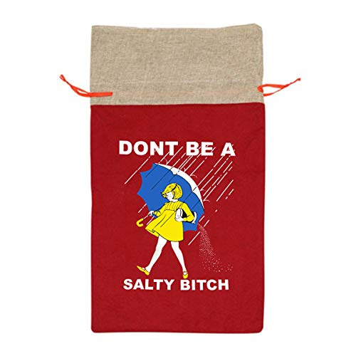 (CYINO Personalized Santa Sack,Don't Be A Salty Bitch Portable Christmas Drawstring Gift Bag)