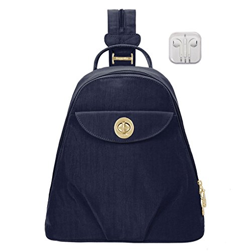 Baggallini Dallas Convertible Sling Backpack Bundle Complimentary Travel Earphones (Navy)