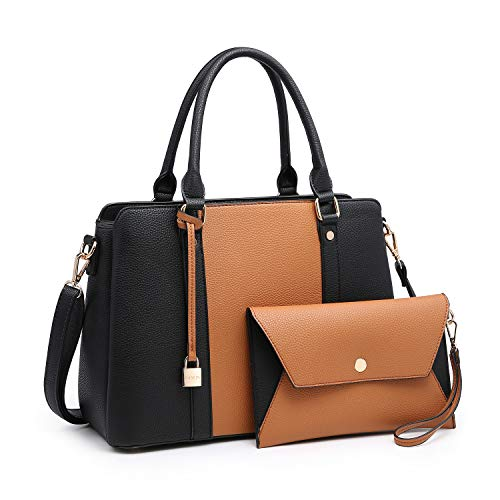 Women Handbags, Large Designer Lady Satchel Multi-Pockets Shoulder Bag Fashion Tote w/ Wallet Set (8011-BR/BK)