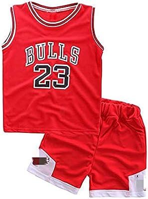 Angel ZYJ Niño Michael Jordan # 23 Chicago Bulls Retro Pantalones Cortos de Baloncesto Camisetas de Verano Uniformes y Tops de Baloncesto (Rojo # 23, XL): Amazon.es: Deportes y aire libre