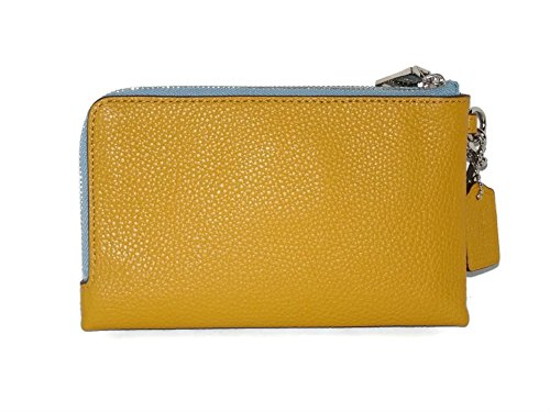 Coach Colorblock Double Corner Zipper Blue Sunflower Yellow Leather Wristlet, 64799 by Coach (Image #1)
