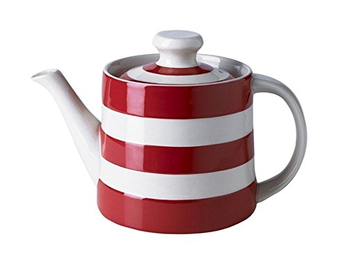 (Cornishware Red and White Stripe Classic Teapot, 3 to 4 Cup)