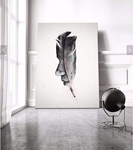 Llxhg現代の羽と顔キャンバス絵画抽象油絵壁写真北欧ホーム装飾用リビングルーム-60×80センチなしフレーム