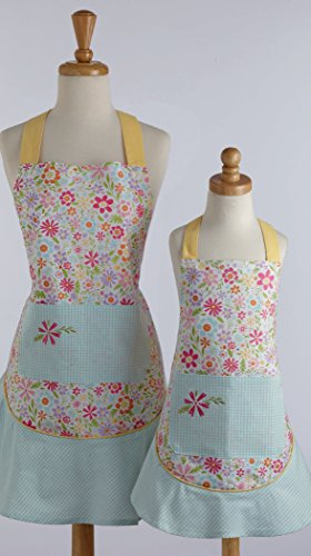 DII Kids Chef Apron Perfect For Cooking, Baking, Dress up, Fits Kids 2-6 years old - Flower Party