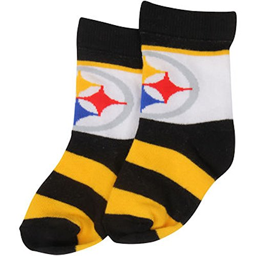 For Bare Feet NFL Infant/Toddler Rugby Block Socks-Toddler-Pittsburgh Steelers ()
