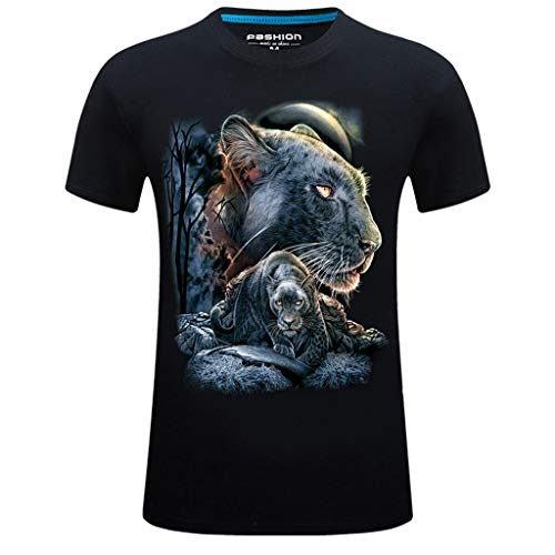 (T-Shirts for Men, MmNote Dark Tiger Walking Print Men's Dark Tiger Walking Print Cool Quick Loose Simple Short Sleeve Black)