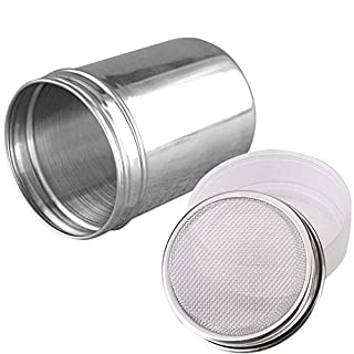 Onwon Powder Sugar Shaker with Lid - Stainless Steel Fine Mesh Shaker Cinnamon Icing Sugar Powder Cocoa Flour Chocolate Coffee Sifter Sprinkler Dredgers for Coffee Cappuccino Latte