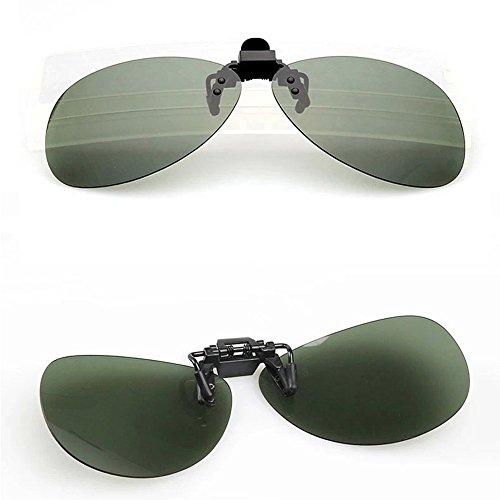 Duco Polarized Clip-on Sunglasses Flip-up Eyewear- Aviator Style Glasses - Polarized Lens for Men and Women 3603 (Green - Aviator Clip Sunglasses On