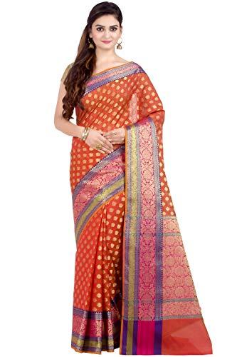 (Chandrakala Women's Orange Cotton Silk Blend Banarasi Saree,Free Size(1080ORA))
