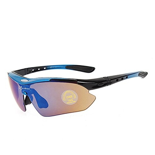 RockBros Polarized Cycling Glasses Eyewear Bike Fishing Sunglasses UV 400 Blue - Round Cheekbones
