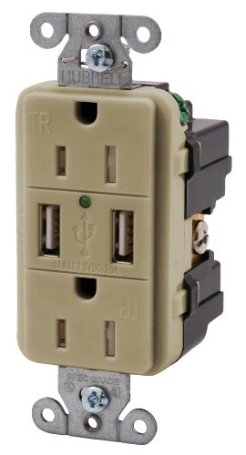 Bryant Electric USBP15I USB Charger, Receptacle, Outlet, Dup