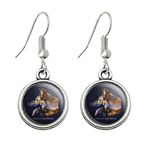 GRAPHICS & MORE Protect and Serve K9 Police Thin Blue Line German Shepherd Dog Novelty Dangling Drop Charm Earrings]()