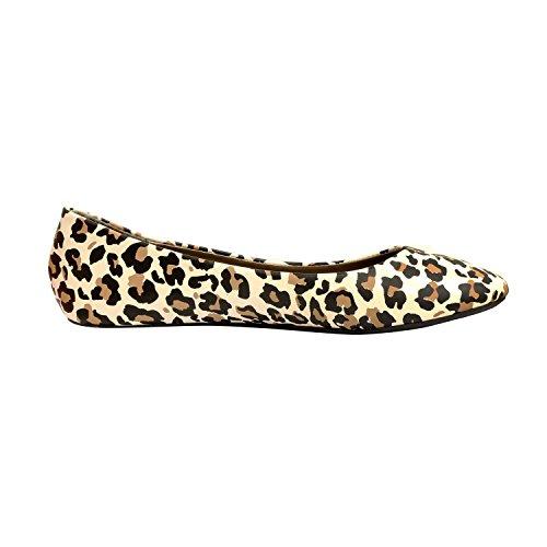 Westbalv Frauen Casual Ballett Flat Leopard Pu