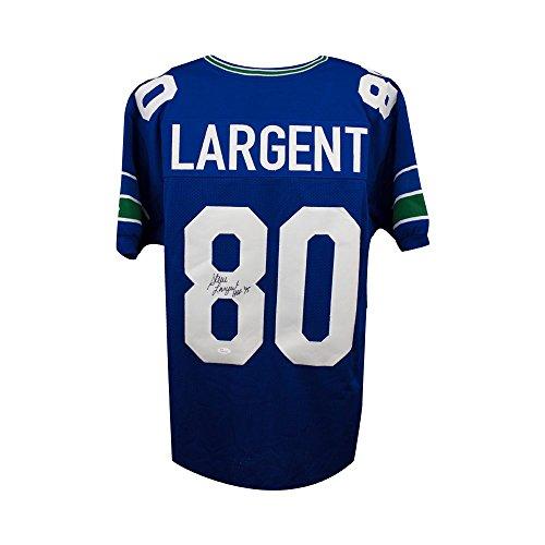 (Steve Largent HOF Autographed Seattle Seahawks Custom Blue Football Jersey - JSA COA)