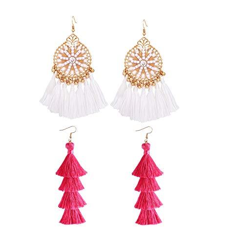 (HSWE Statement Multicolor Tassel Earrings Set for Women Beaded Multistrands Fringe Earrings Fabric Thread Dangle Drop Earrings (white+rosy))