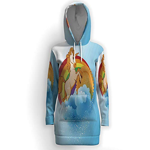 Hooded Tunic Sweatshirt with Pockets,Unicorn Home and Kids Decor ()