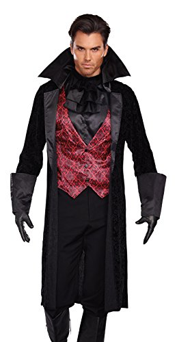 Dreamgirl Men's Bloody Handsome Costume, Black/Red, Large (Vampire Costume Men)