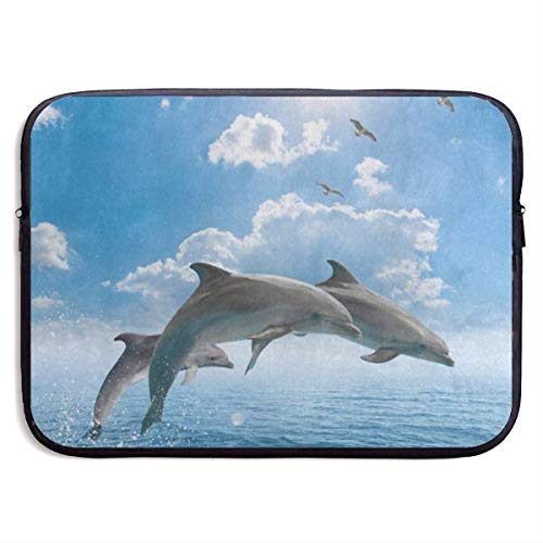 Funny Design Blue Sky Dolphin Ocean Sea Laptop Sleeve Waterproof Neoprene Diving Fabric Protective Briefcase Laptop Bag for IPad, Notebook/Ultrabook/Acer/Asus/Dell