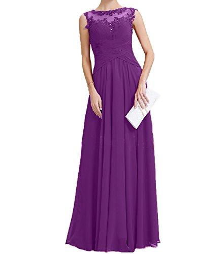 Brautmutterkleider Lila Promkleider Partykleider Neu mit Chiffon Charmant Langes Abendkleider Damen Applikation Spitze PxB7I