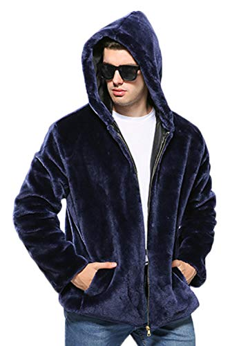 Blu Zonsaoja Tasca Della Chiusura Con Calda Eco Cappotti pelliccia Spessore Lampo Uomo Cappuccio Da Di Di Lusso WBnvHqc7ap