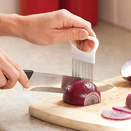(New2019 Shrendders & Slicers Tomato Onion Vegetables Slicer Cutting Aid Holder Guide Slicing Cutter Safe Fork)