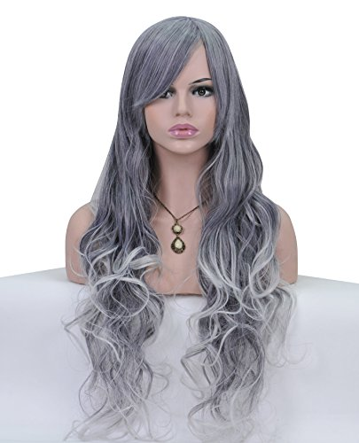 HI GIRL Gray Tone White Mixed Lond Curly Boay Wave Hair Soft Smooth Wig with Hair Bang for Women Beauty Daily Wearing Free Cap and Comb for Women