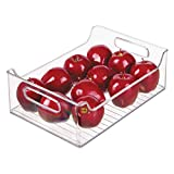 """InterDesign Plastic Fridge and Freezer Storage Organizer Bin With Handles, Clear Container for Food, Drinks, Produce Organization, BPA-Free , 10"""" x 5"""" x 14"""", Clear"""