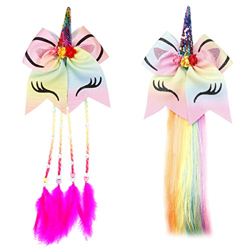 Princess Dress up Wigs Unicorn Hair Bows Boutique Braided Costume Accessories for Girls Cosplay Party 2PCS ()