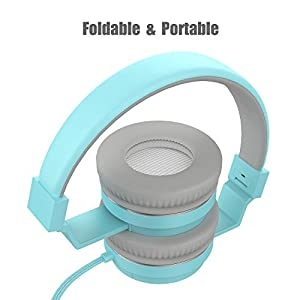 MXditect On Ear Headphones with Mic Lightweight and Foldable Blue