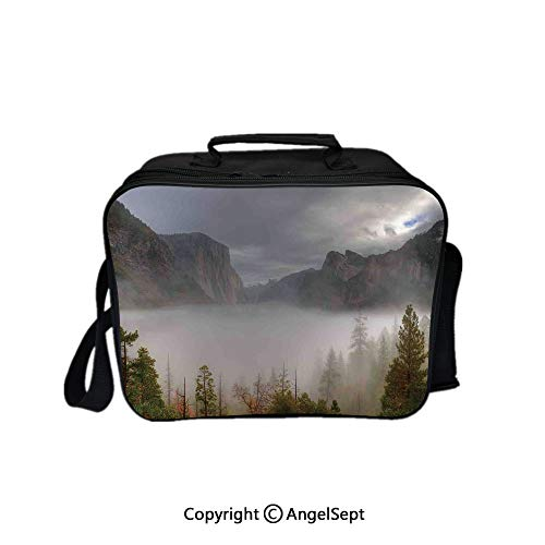 Multifunctional Lunch Bags for Women Wide Open,Yosemite Valley Autumn View with Dark Clouds Heavy Haze Rainy Day Landscape Print Green Grey 8.3inch,Lunch Box With Double Deck Cooler Tote Bag (Haze Deck)