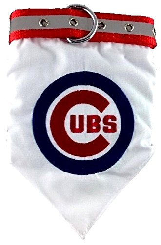 Pets First MLB Bandana - Chicago Cubs Dog Bandana with Reflective & Adjustable Dog Collar, Large - Chicago Cubs Adjustable Dog Collar