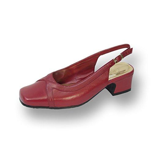 Peerage FIC Tessa Women Wide Width Leather Slingback Pump RED 9 ()
