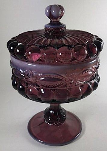Covered Compote - Eyewinker - Mosser Glass USA - Eye Winker (Large, Plum Opalescent)