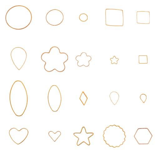 PandaHall Elite About 200 Pcs Brass Key Open Bezel Pendant Charm Blank Frame Hollow Pendants 20 Styles for UV Resin Crafts DIY Jewelry Making ()