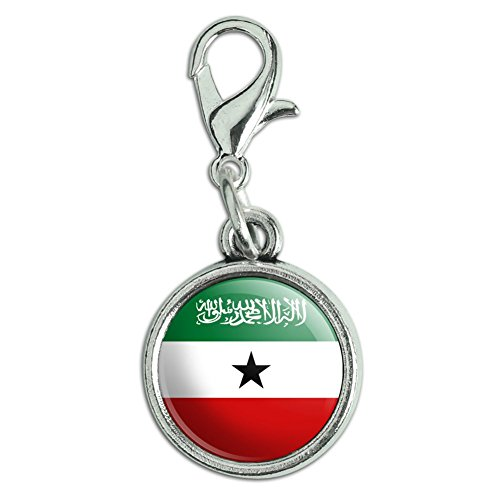 Antiqued Bracelet Pendant Charm with Lobster Clasp Country National Flag O-S - Somaliland National Country Flag