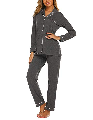 Ekouaer Women's Pajama Set Soft Cotton Pjs Sleepwear for Lady(Deep Flower Gray,X-Small)