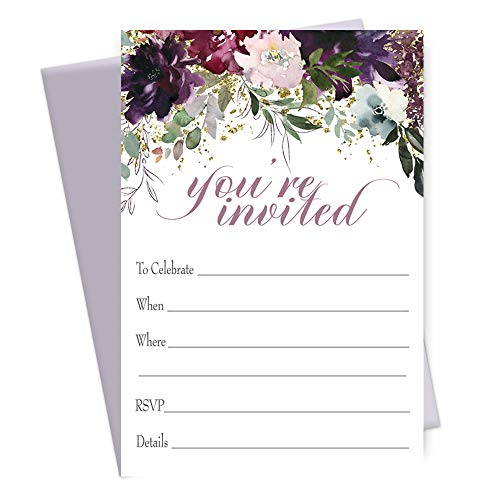 (Shabby Floral Party Invitations (15 Pack) Cards and Purple Envelopes)