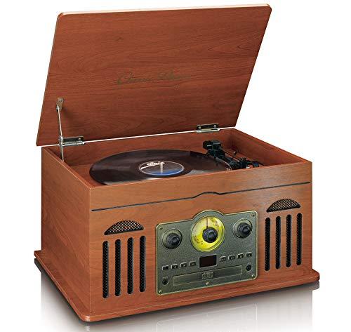 Classic Phono TCD-2600 – Retro stereo systeem met platenspeler – cassette – CD speler – Bluetooth en USB – AM/FM-radio…