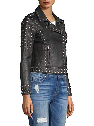 Cloudberry Womens Punk Black Studded Motorcycle Leather Jacket XXL Black